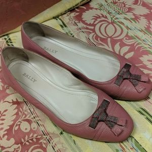 Bally Pink Leather Ballerina Flats Shoes Size 7.5